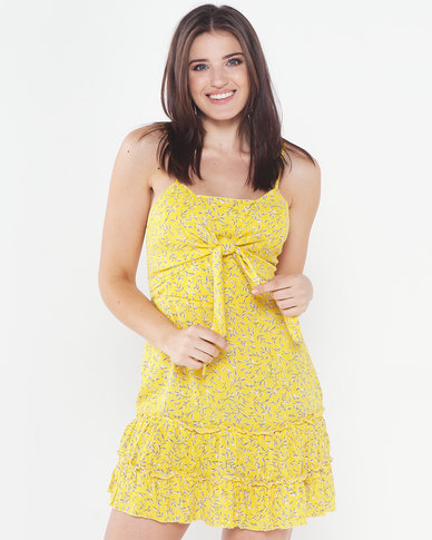 Utopia Tie Front Floral Tunic Dress Yellow