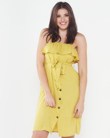 Utopia Button Through Flounce Dress Yellow