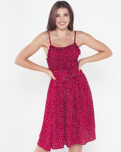 Utopia Button Through Dress Red
