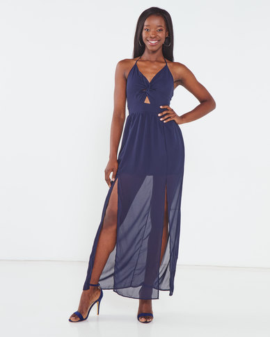 Utopia Halterneck Dress With Slits Navy