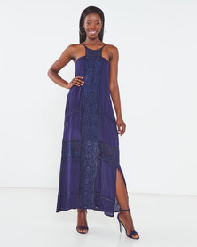 Utopia Maxi Dress With Crochet Trim Navy