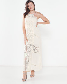 Utopia Maxi Dress With Crochet Trim Cream