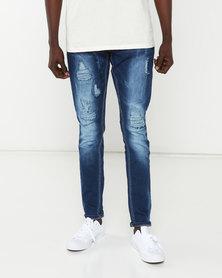 Utopia Ripped Straight Leg Jeans Blue