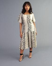 Bela Moca Boutique Ruffle Snake Print Dress