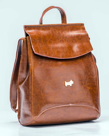 Scotty Bags Cali Leather Backpack also converts into a sling bag - Tan