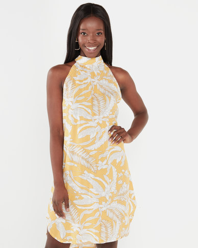 Utopia Floral Halterneck Dress Mustard