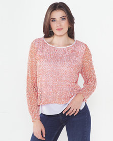 Cath Nic By Queenspark Knit Top With Sparkle Overlay Orange