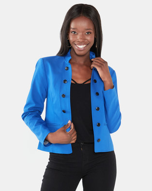 cath.nic By Queenspark Military Styled Woven Jacket Cobalt