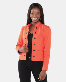 Cath Nic By Queenspark Military Styled Woven Jacket Orange