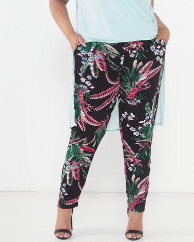 Queenspark Plus Collection Printed Woven Pants Black