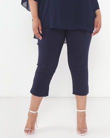 Queenspark Plus Collection Bengaline Tramline Woven Capri Navy
