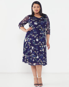 Queenspark Plus Collection Floral Mesh Printed Knit Dress Navy