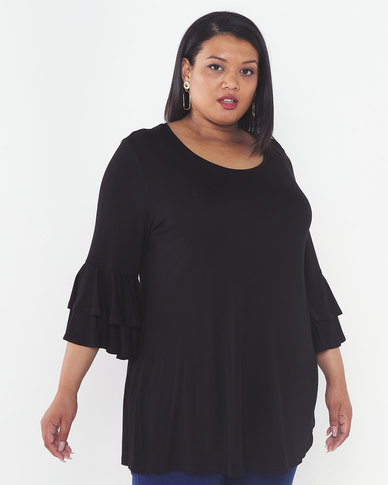 Queenspark Plus Collection Frill Sleeve Knit Top Black