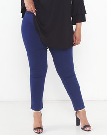 Queenspark Plus Collection Beaded Detail Pull On Denim Jeggings Blue