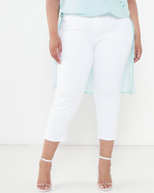 Queenspark Plus Collection Denim Capri With Beading Detail At Hem White