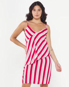 Utopia Stripe Strappy Dress Red
