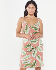 Utopia Feather Print Strappy Dress Coral