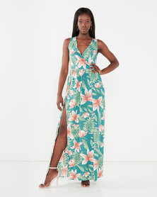 Utopia Maxi Dress With Slits Green Tropical Print