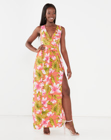 Utopia Maxi Dress With Slits Pink Tropical Print