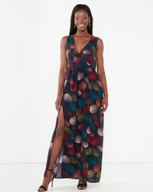 Utopia Maxi Dress With Slits Black Leaf Print