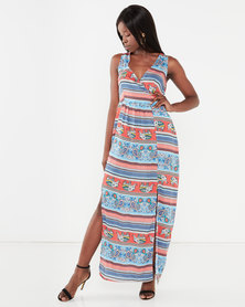 Utopia Maxi Dress With Slits Elephant Print