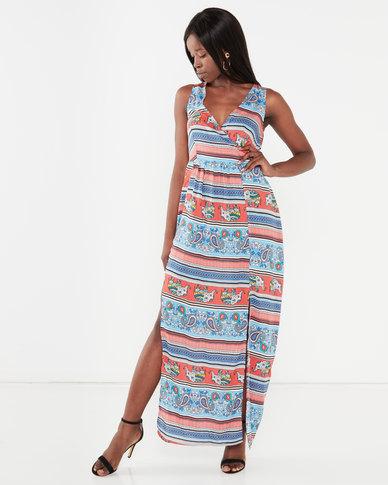 Utopia Maxi Dress With Slits Elephant Print