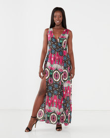 Utopia Maxi Dress With Slits Pink Tribal Print