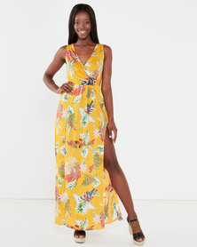 Utopia Maxi Dress With Slits Yellow Tropical Print
