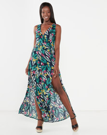 Utopia Maxi Dress With Slits Black Floral Print