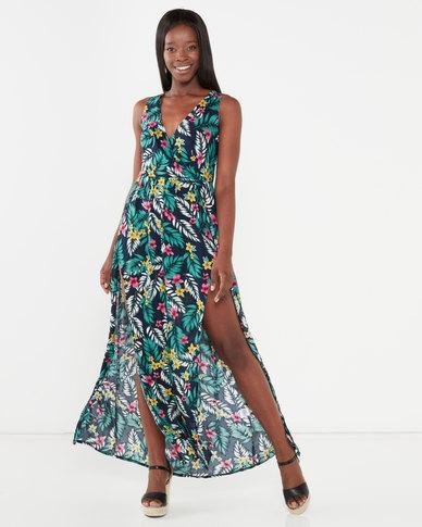 Utopia Maxi Dress With Slits Black Floral Print
