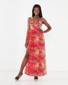 Utopia Maxi Dress With Slits Red Floral Print