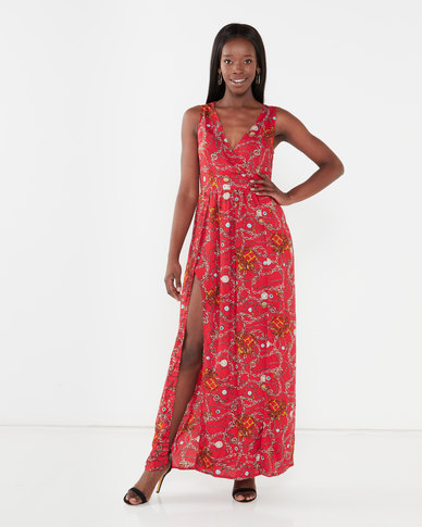 Utopia Maxi Dress With Slits Red Chain Print