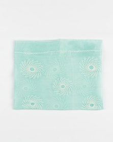 Queenspark Embroidered Soft Crinkle Scarf Aqua