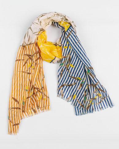 Queenspark Striped Colourblocked Leaf Viscose Scarf Yellow