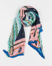 Queenspark Pleated Printed Poly Scarf Pink