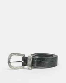 Queenspark Croc Belt With Diamante Buckle Black