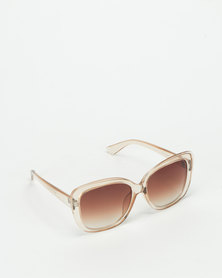 Queenspark Square Clear Sunglasses Brown