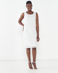 Queenspark Lattice Detail Tea Dress White