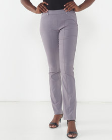 Queenspark New Pleated Pocket Bengaline Woven Slacks Grey