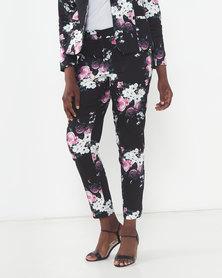 Queenspark Woven Slacks  Black/Pink Rose