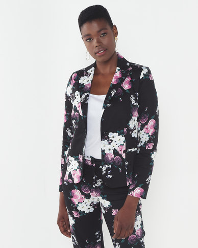 Queenspark Woven Jacket Black/Pink Rose