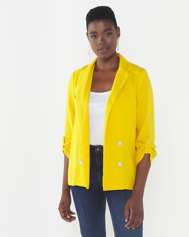 Queenspark Mock Double Breasted Woven Jacket Mustard