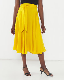 Queenspark Smart Summer Woven Skirt Mustard