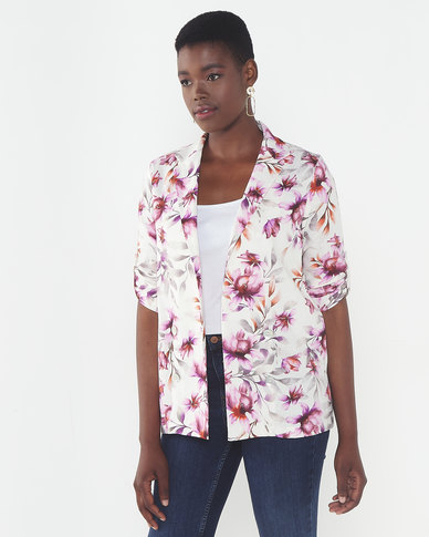 Queenspark Diffused Beauty Linen Blend Woven Jacket White