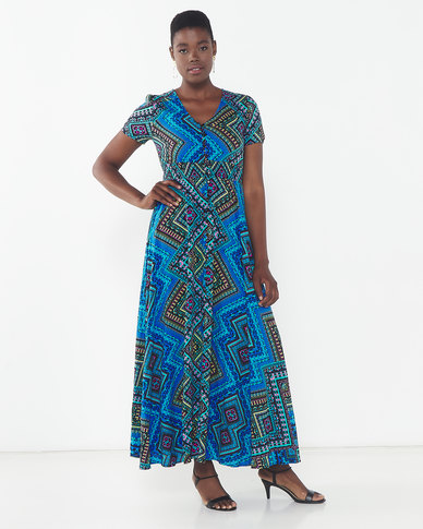 Queenspark Printed Short Sleeve Maxi Dress Black