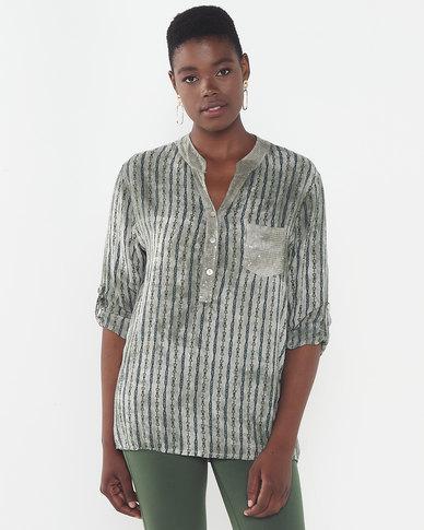 Queenspark Fancy Design Mandarin Woven Roll Up Sleeve Shirt Khaki