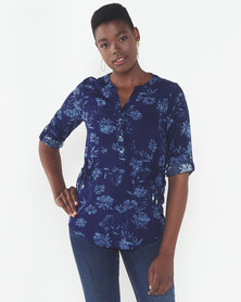 Queenspark Floral Printed Viscose Woven Blouse Blue