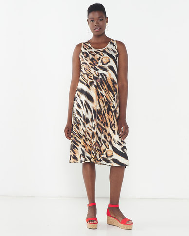 Queenspark Animal Print Popover Knit Dress Brown