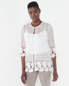 Queenspark Border Design Lace Woven Jacket White
