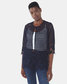 Queenspark Border Design Lace Woven Jacket Navy